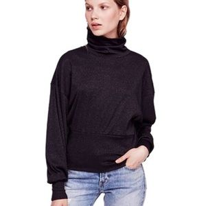 Free People Black Glimmer Turtleneck